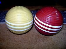 """2 Vintage Croquet Balls Ribbed 3 Striped Red & Yellow Vintage 3"""" Wood"""