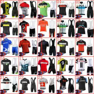 Men Short Sleeve Cycling Jersey Bib Shorts Kits Bike Shirt Riding Pants Set