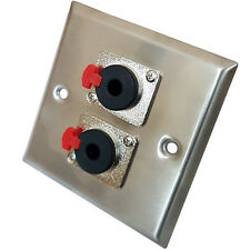 """Brushed Steel 6.35mm (¼"""") Stereo Outlet Wall Face Plate – Headphone Microphone"""