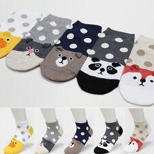 5 Pairs Cute Animal Character Socks Women Big Kids Boy Girl Casual Ankle Socks