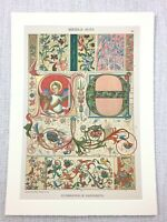 1883 Antique Print Medieval German Illuminated Manuscript Cologne Cathedral Art