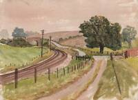 RAILWAY LINE IN LANDSCAPE Watercolour Painting c1970 IMPRESSIONIST