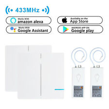 2x 2-Way Wireless +2x Smart WIFI Receiver Remote Control Wall Switch Google Home