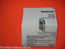Panasonic RR-DR60 Digital IC Recorder Printed Operating Instructions Manual