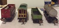 ANTIQUE,VINTAGE LIONEL LINES METAL TRAIN CARS LOT OF 4 # 630,807,902,804.