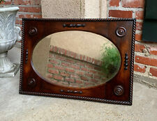 Antique English Oak Beveled Wall Mirror Jacobean Barley Twist Frame Oval