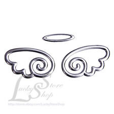 3D Silver Round Angel Wings Car Auto Bumper Body Sticker Emblem Car SUV Truck