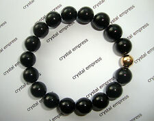 FENG SHUI - 10MM BLACK ONYX MALA BRACELET WITH GOLD BEAD