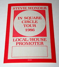Stevie Wonder In Square Circle Tour 1986 Concert Promoter Stage Pass Otto Mt