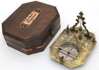 in Ottone Massiccio Pendolo Meridiana e Bussola Legno duro BOX Sundial d'ottone