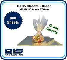 600 Clear Cellophane Sheets 500x700mm Gift florist wrapping art gifts quality