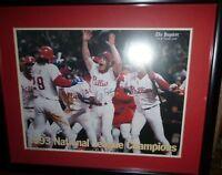 1993 Phillies NL Champs/Lenny Dykstra signed Inquirer framed photo- Kruk 14x17