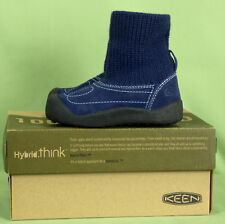 405 NIB KEEN Shay boy girl  blue suede boot slip-on ankle sock knit NEW 7