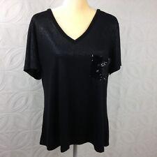 Women's ALLEN B Black Shimmer Knit Stretch Top Short Sleeved V-Neck Size XL