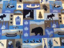 "Yellowstone bear boat woodland oars fish duck fleece fabric 60""w, sold BTY"