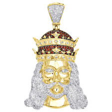 Diamond Royal Crown Jesus Pendant 10K Yellow Gold Round Created Ruby 0.90 Ct.