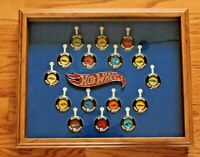 Hot Wheels Redline Original 16 Button Badges Framed Wall Display Complete Set