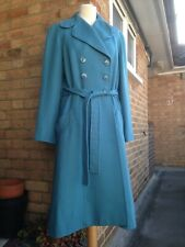 CACHAREL Vintage Midi Semi Fitted Coat 100% Virgin Wool Teal Blue M UK 12 14 VGC