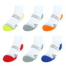 6 Fruit of the Loom Boys Everyday Active Ankle Athletic Socks Size LG 3-9 New!!!