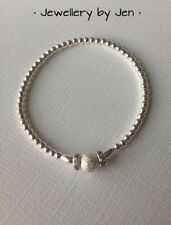 Stacking Handmade Silver Plated Beaded Bracelet, Sparkly Crystal Charms & Bead.