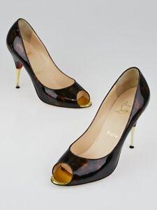 NEW Christian Louboutin YOYOSPINA 100 Tartaruga Patent Leather Pumps Shoes 38 40