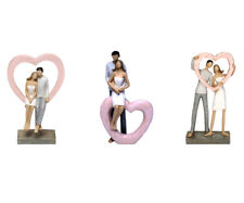 Sculpture Pair Lovers with Heart Decorative Home Accessories Modern Statue Love