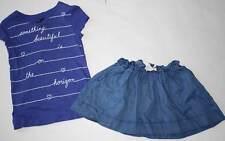 EUC Gap Kids Indigo Alice Blue Top & Chambray Skirt 7/8