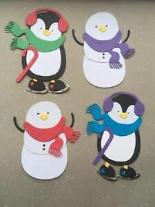 Large Christmas Card Toppers: Snowmen & Penguins - Pre-Assembled in Sets of 4