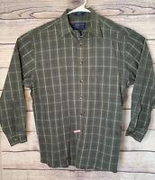 Pendelton Green Plaid Checked Long Sleeve Button Up 100% Cotton Shirt Men Sz M