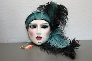 Vintage Art Deco Clay Art Mask Made In The USA Fancy Black & Teal Feathers