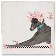 Greyhound Black Greyhound Dog Floral Kitchen Dish Towel Pet Gift