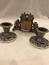 Two Vintage Metal Candle Holders Israel With Napkin Holder Jerusalem