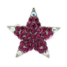 Hand Made Hair Jewelry Magnet Mini star Barrette, Fuchsia Rhinestone