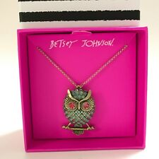 Betsey Johnson Gifting Owl Pendant Necklace New Mint Color