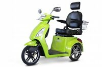 New E-Wheels 3 Wheel Elite Power Scooter with Electromagnetic Brakes - Green