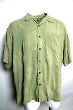 Tommy Bahama XXL 2XL 100% Silk Floral Print Casual Button Down Wood Buttons