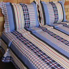 Cotton Quilted Bedspread 3PCS Set in Stripes & Checks Patchwork Look Queen Size