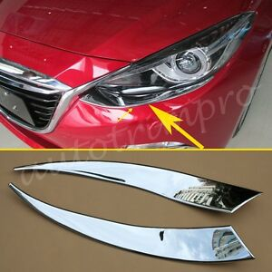 Accessories For Mazda 3 2014 2015 2016 Head Light Lamp Front Eyebrow Cover Trim