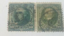 US SCOTT 273&284-1895-1898-10 CENT WEBSTER-15 CENT CLAY-1st BUREAU ISSUE-USED