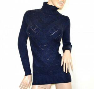 PULL-OVER BLEU LONG femme maillot manches longues cou haut roulé chandail G5