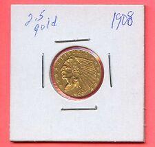 1908 $2.50 Gold Indian Head Quarter Eagle. Circulated. Lot #226