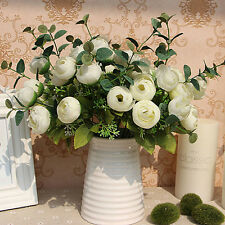 10 Heads Bouquet Artificial Fake White Flower Table Spring Rose Hydrangea Decor