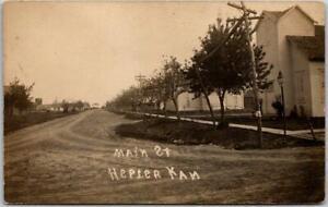 1910s HESPER, Kansas RPPC Real Photo Postcard MAIN STREET Downtown Scene Unused