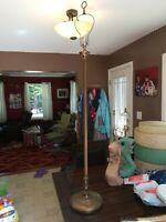 """vintage mid century 58"""" brass weighted footed base floor lamp"""
