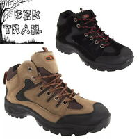 DEK Ontario Men's Trail Boots Black Synthetic Leather Hill Walking Trek Trainers