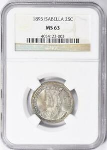 1893 Isabella Commemorative Silver Quarter Dollar - NGC - MS-63 - Mint State 63