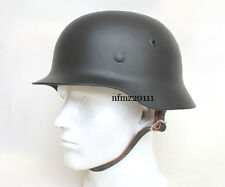 Collectable WWII WW2 GERMAN M40 Steel Motorcycle Black HELMET Replica