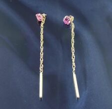9ct Gold Pink 3.5mm C.Z Pull Through Earrings.