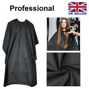 Professional Hair Cutting Apron Salon Barber Cape Gown Hairdressing Cut Black UK