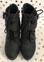SM New York Women's Black Mid Ankle Zip Up Buckle Faux Suede Boots - Size 8M
